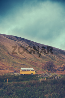 Vintage Camper Van In The WIlderness