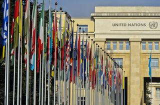 Flaggenhof am Europasitz der Vereinten Nationen, UNO, Palais des Nations, Genf, Schweiz