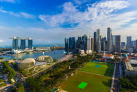 SINGAPORE - APRIL 15: Singapore city skyline and Marina Bay on April 15, 2016 in Singapore