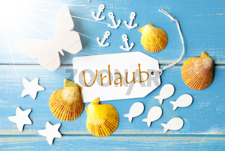 Sunny Summer Greeting Card With Urlaub Means Holiday