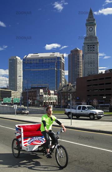 Bicycle rickshaw in downtown Boston, USA