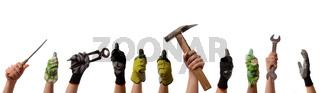 Frauenhände mit Werkzeug und Arbeitshandschuhen, Frauenpower