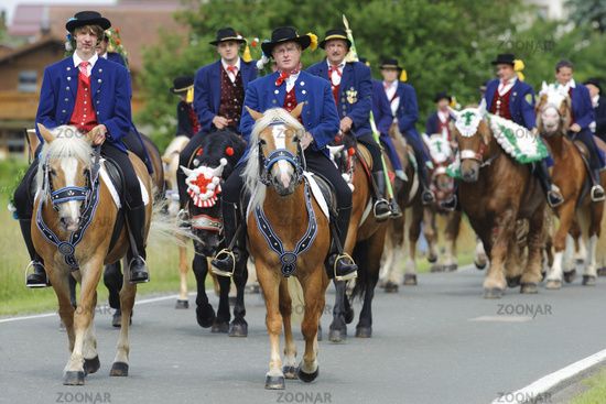 every year at Whitsun a catholic horse procession with many riders in traditional costume takes plac