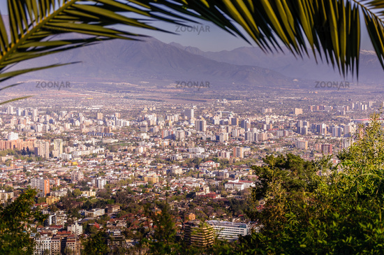 Skyline of Santiago de Chile at the foots of The Andes Mountain, Chile