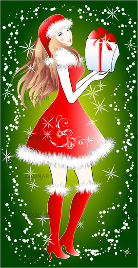 Santa girl with a gift for you
