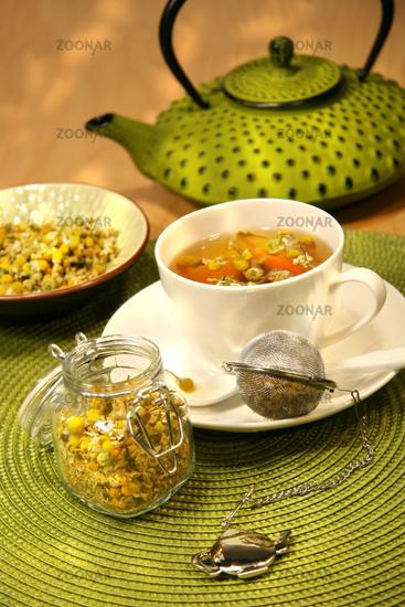 Closeup of chamomile  tea