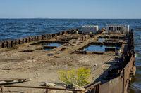 Old ship falling apart, Baku