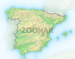 Spanien , Reliefkarte.