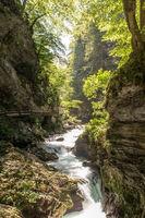 The fabulous Vintgar Gorge in Slovenia near lake Bled