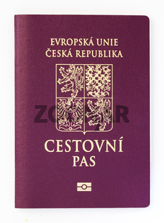 Czech passport isolated on white background