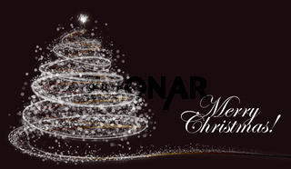 White snowflake Christmas tree on dark background with text