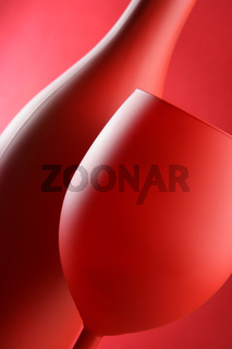 Red bottle and glass