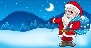 Landscape with Santa Claus 3 - color illustration.