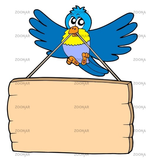 Bird with sign - isolated illustration.