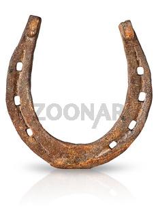 Old rusty horseshoe vertically