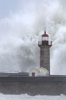Lighthouse of Porto with storm, Portugal, Europe