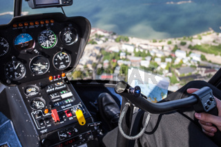 View from flying helicopter