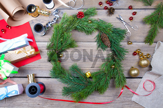 Christmas wreath on a table