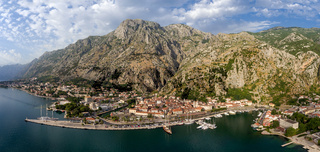 Bay of Kotor and old city - aerial panorama