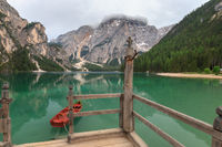 Boat tethered on stairway at Lake Braies boathouse