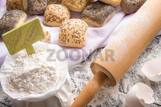 Bag of flour with banner and buns