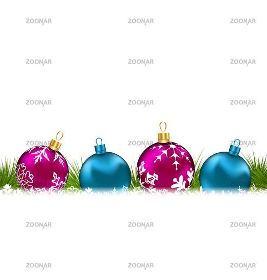 Christmas invitation with colorful glass balls