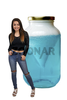 Teenage Woman with science experiment