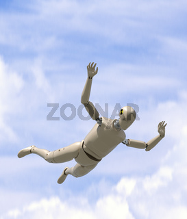 Crash test dummy goes sky diving.