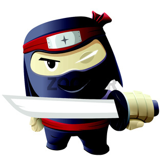 Serious ninja with sword.