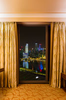 Hotel room and Singapore view