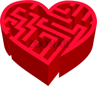 Maze of love red labyrinth on white