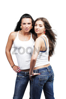 two sexual girls wearing jeans, isolated on white