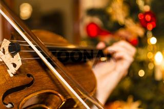 Geige mit Weihnachtsbaum, violin with christmas tree