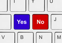 Computer keyboard with Yes and No keys