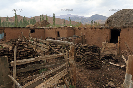Farmhouse with dried cow dung as fuel source, Central Kyrgystan