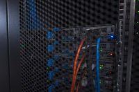 closeup of a modern data center hardware