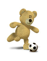 Nhi Bear kicks a soccer ball