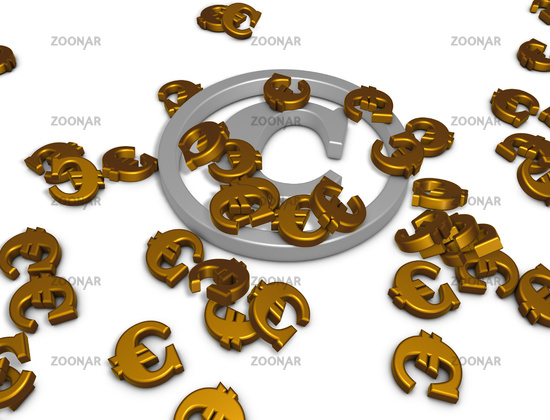 copyright symbol and euro sign - 3d rendering