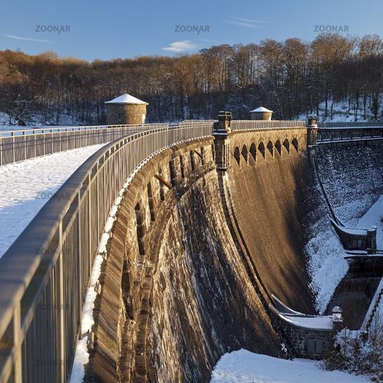 dam of storage lake Neye in winter, Wipperfuerth, North Rhine-Westphalia, Germany, Europe