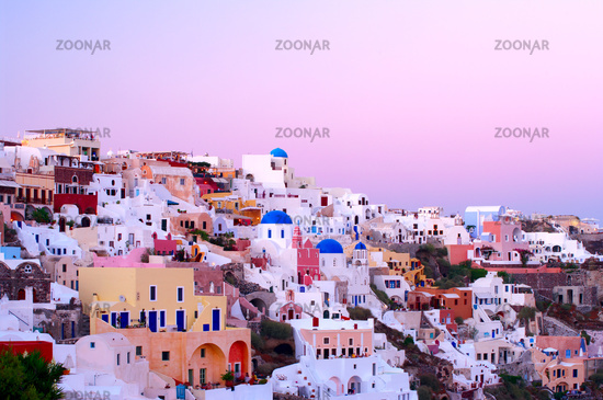 Oia village buildings in the evening light