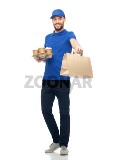 happy delivery man with coffee and food in bag