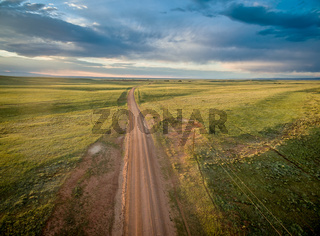 ranch road over Wyoming prairie