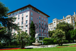 Ancient Sculpture and Beautiful Luxury Hotel in Optija, Croatia