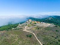 Aerial View High Fog Near Santuario da Peninha