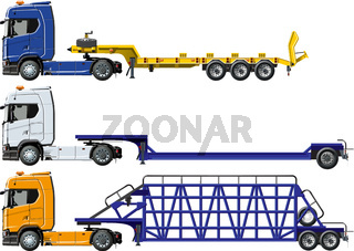 Vector semi trucks set isolated on white