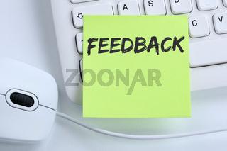 Feedback Kundendienst Service Meinung Bewertung Kontakt Business Konzept Maus