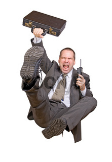 jump businessman with telephone