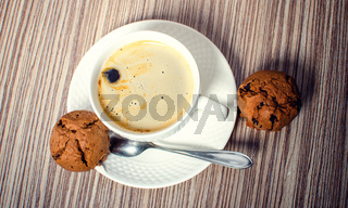 Chocolate muffin and coffee.