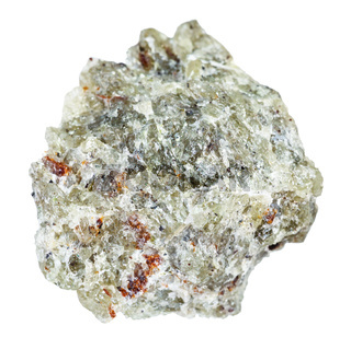 raw olivine stone isolated on white