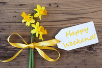 Yellow Spring Narcissus, Label, Text Happy Weekend